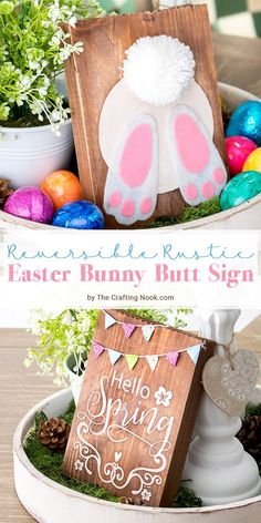 DIY Reversible Rustic Easter Bunny Butt Sign With this fun tutorial you will have 2 wood signs decor in one. This DIY Reversible Rustic Easter Bunny Butt Sign will rock your Easter and Spring Decor! Bunny Crafts, Easter Crafts, Spring Crafts, Holiday Crafts, Spring Home Decor, Decor Crafts, Diy Crafts, Art Decor, Wood Crafts
