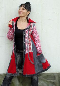 Fantasy design recycled denim jeans and sweater coat by jamfashion More