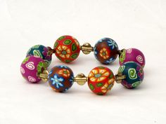 polymer clay bracelet, fimo, beads, millefiori, Herbst Armband  Polymer Clay  Perlen Lampwork von filigran-Design   auf DaWanda.com