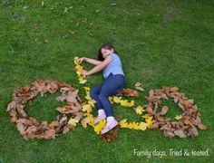 When the leaves fall off the trees bring the family out to have fun making your own life-size leaf art. Best on a non-windy day! Leaf Projects, Art Projects, Autumn Art, Autumn Leaves, Fallen Leaves, Nature Crafts, Fall Crafts, Forest Art, E 7