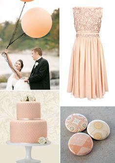 embroidered peach bridesmaid dress