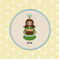 Miss Sweet Cakes. Cross Stitch Pattern by andwabisabi on Etsy