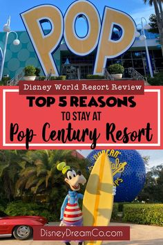 Pop Century is one of Disney World's value resort. This resort is family friendly, a great value, and full of Disney magic! Check out why you should stay here on your next vacation! Disney World value resort. Walt Disney World. Best Disney resorts to stay at. Disney World resort review. Pop Resort. Disney World tips. Disney World with kids. The best Disney Resort to stay at with kids. Disney Resort Hotels, Disney World Hotels, Disney World Food, Disney World Planning, Walt Disney World Vacations, Disney Travel, Disney World Secrets, Disney World Tips And Tricks, Disney On A Budget
