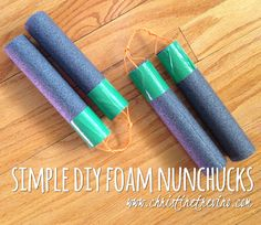 These simple DIY foam nunchucks are not only incredibly easy to make, but entirely cost effective, and also really sturdy for play.