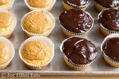Tagalong Cupcakes - Low Carb, Sugar/Grain/Gluten Free, THM S Diabetic Desserts, Sugar Free Desserts, Cupcake Recipes, Healthy Desserts, Dessert Recipes, Paleo Treats, Healthy Recipes, Stevia, Chocolate Peanut Butter Cupcakes