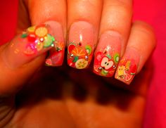 My nails. Fruit and Swarovski crystals- so summery!
