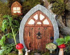 Large Fairy Door Set, Gnome Door, Elf Door, Pirate Door, Fairy Garden Statue, Medieval Door,Castle Door,Manor Door,Fantasy Decor