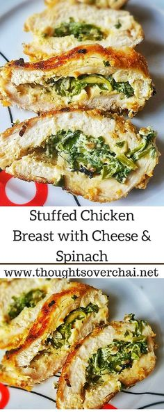 Stuffed chicken breasts with gooey cheese and healthy spinach - for days when you crave a simple uncomplicated meal.