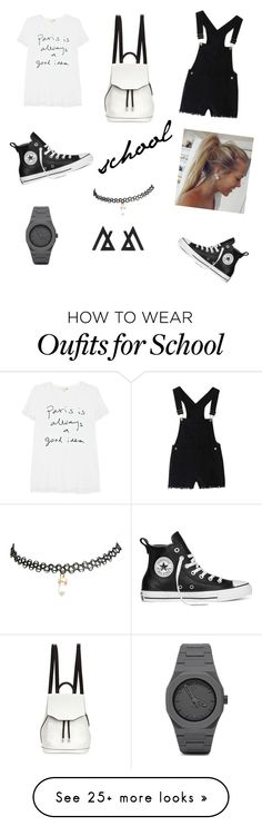 """school:-"" by sajazarma on Polyvore featuring Sundry, rag & bone, Converse, CC and Wet Seal"