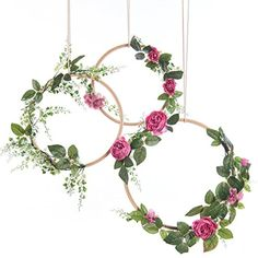 Ling's moment Summer Greenery Wedding Handcrafted Vine Wreaths Set of 3, Christmas Decor Rustic Wedding Backdrop, Artificial Roses Plant Flower Garland, Woodland Wedding decoration Floral Hoop * Click on the image for additional details. (This is an affiliate link) #HomeDcorAccents