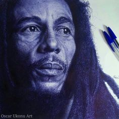 Oscar Ukonu is a brilliant self-taught Nigerian artist, who uses only a pen to create stunning photorealistic portraits that take him an average of 100 to 120 hours to complete. Before Oscar gets started on one of his Ballpoint Pen Drawing, Ink Pen Drawings, Realistic Drawings, Portrait Sketches, Portrait Art, Art Manga, Bob Marley, Pen Sketch, Creative Artwork