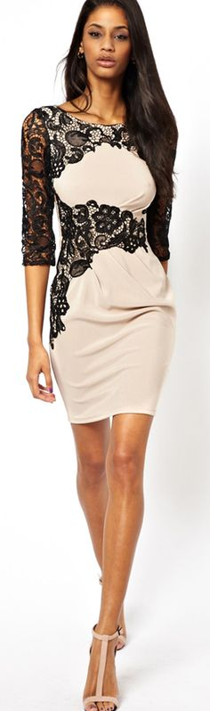 Lipsy Shift Dress with Lace Sleeves