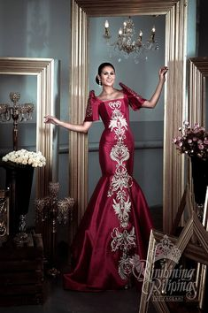 Modern Filipiniana Gown, Filipiniana Wedding, Wedding Dress, Philippines Dress, Philippines Culture, Filipino Fashion, Grad Dresses, Beautiful Gowns, Traditional Dresses
