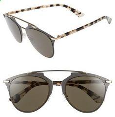 Women's Dior Reflected 52Mm Brow Bar Sunglasses - Brown Havana #sunglasses #womens #summer