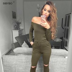 afd40a4e4fe 6 Color New Rompers Womens Jumpsuit Off Shoulder Long Sleeve