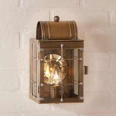 Small Wall Lantern Weathered Brass $144