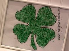 Dyed Rice Shamrock- Kid Crafts w/ printable - Under the Table and Dreaming