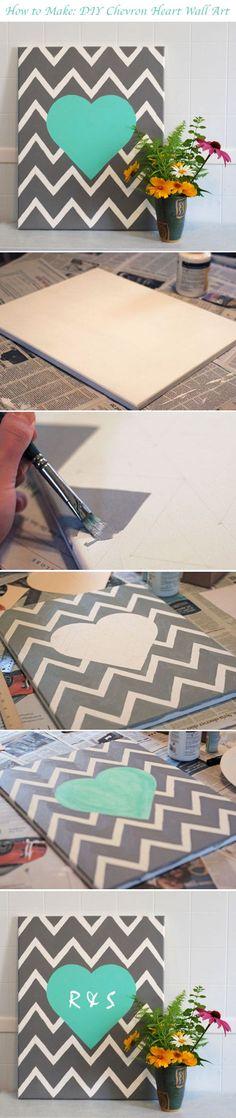 DIY Chevron Heart Wall Art - find the tutorial here!  http://www.weddingwindow.com/blog/2012/07/23/diy-chevron-heart-wall-hanging/