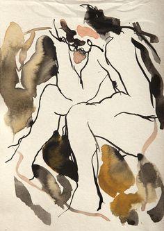 João. Estudo preparatório para monotipia. Nanquim e aquarela sobre papel Creme Pirahy 240g. EAV Escola de Artes Visuais do Parque Lage, Rio de Janeiro. 21x14,5cm. 2016. #eav #parquelage #arte #nu #desenho #estudo #nanquim #aquarela #papel #drawing #nude #art #model #lifedrawing #figure #ink #indianink #paper #figure #watercolor #figuredrawing #painting #expressionism