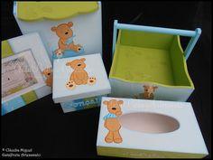 """Fraldário, cesta, caixa de recordações de bebé, caixa para toalhitas e moldura """"Fluffy Bear"""". Este ursinho é uma ternura!"""