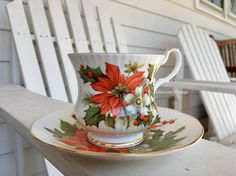 Vintage Royal Coach Christmas Teacup & Saucer  by GraciousVintage