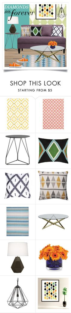 """""""Diamond Decor"""" by ivansyd on Polyvore featuring interior, interiors, interior design, home, home decor, interior decorating, Thibaut, Dash & Albert, Design Within Reach and Pillow Perfect"""