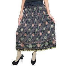 Mogulinterior Bohemian Hippie Gypsy Skirt Black Floral Printed Cinkle Broomstick Mid Length Skirts