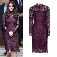 Shop Dolce & Gabbana Purple Guipure Lace Dress as seen on Duchess of Cambridge. Copy Princess Kate's style with the best repliKate dresses for less! Dresses For Less, Nice Dresses, Prom Dresses, Formal Dresses, Purple Lace, Purple Dress, Kate Middleton Dress, Kate Dress, Aso