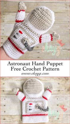 Astronaut Hand Puppet - ekayg crafts Make this DIY astronaut puppet, and help your little one explore space with his or her imagination! Puppet Patterns, Amigurumi Patterns, Crochet Patterns, Crochet Gifts, Crochet Dolls, Crochet For Kids, Free Crochet, Hand Puppets, Crochet Hook Sizes