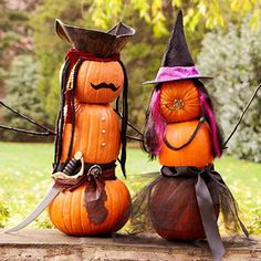 """These decorated pumpkins are simply smashing! To create some """"pumpkin people"""" of your own, stack two to four pumpkins and press a 3/4-inch dowel through the center. Raid your child's costume and crafts bins for accessories you can use to glue or pin to your pumpkin people."""