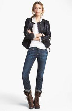 Free People Jacket, Caslon® Tee & AG Jeans Cigarette Leg Jeans | Nordstrom