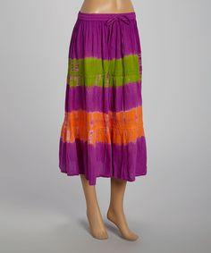 Take a look at the Purple & Green Tie-Dye Peasant Midi Skirt on #zulily today!