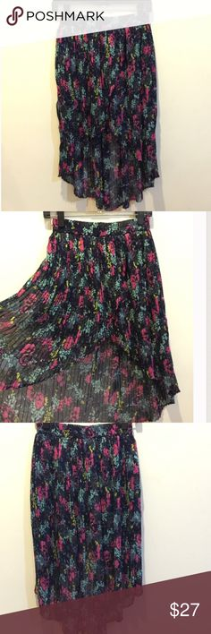 Kimchi Blue Floral High Low Pleated Skirt Gorgeous kimchi skirt with Pleats and a high low style. Lined and elastic waist. Kimchi Blue Skirts High Low