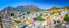 """""""Painted"""" against the slopes of Signal Hill, the Bo Kaap has become part of the Cape Town tourism milieu, and one of the places to visit in Cape Town, as much as Table Mountain and the Company's Ga… Cape Town Tourism, Lago Baikal, Cities In Africa, Valensole, Cape Town South Africa, Table Mountain, Explorer, Exotic Places, Adventure Is Out There"""
