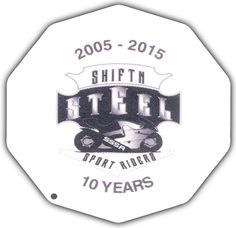This is a sample of a Full Color Digital Print Motorcycle Coaster®. This is one we printed for Shiftn Steel Sport Riderz.  Check them out at ShiftnSteelSportRiderz.com. The Motorcycle Coaster® is sometimes referred to as a kickstand pad, kickstand plate, side stand pad, side stand plate, or puck.   It is specifically designed as a motorcycle kickstand support aide for soft surfaces and is designed for your custom printed message.
