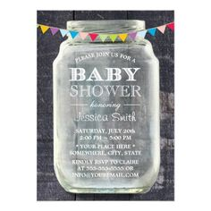 Rustic Ban Wood Mason Jar Baby Shower Invite