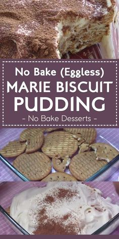 No Bake (Eggless) Marie Biscuit Pudding No Bake Desserts is part of Biscuit pudding - Fridge cakes are great during hot summer days This recipe is eggfree and bakefree Eggless Desserts, Eggless Recipes, Pudding Desserts, No Bake Desserts, Easy Desserts, Pudding Cake, Pudding Recipes, Eggless Pudding Recipe, Indian Pudding Recipe