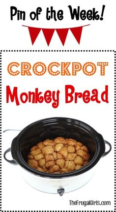 Crockpot Monkey Bread Recipe! There's nothing quite as delicious as this Slow Cooker cinnamon sugar ooey-gooey goodness! It's so easy to make and SO yummy for breakfast.