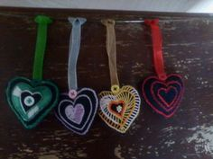Set of 4 Heart Shaped Hanging Ornaments Hand by HeartWarmingCraft Hanging Ornaments, Heart Shapes, Washer Necklace, Trending Outfits, Unique Jewelry, Handmade Gifts, Etsy, Vintage, Kid Craft Gifts