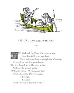 The Owl and the Pussycat by Edward Lear Print by The British Library