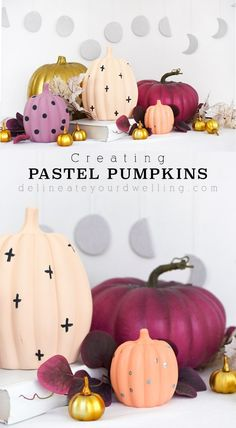 Learn how to bring a softer side to Halloween and the fall season this year with gorgeous Pastel Pumpkins. In shades of lavender, peach and coral - you can make your pumpkins work for you this Autumn season! Delineate Your Dwelling White Pumpkins, Painted Pumpkins, Fall Pumpkins, Fall Crafts, Crafts For Kids, Diy Crafts, Diy Interior, Halloween Crafts, Modern Halloween