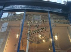 Cocoa and Sweet window signs by Paul Banks Signwriting and Design. #Signwriter #Signwriting