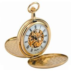 Gold Plated Mechanical Double Hunter Pocket Watch - www.pocketwatch.co.uk