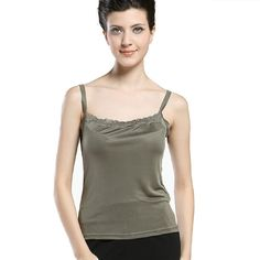 Forever Angel Women's Knitted Silk Lace Camisole Top Olive Size L. 100% Mulberry Silk. Silk Knitting, Stretchy And More Comfortable. Silk Knit Garments May Be Dry Cleaned Or Hand Washed In Cool Water With Mild Soap, Laying Flat Or Hanging To Dry. Please Select The Size According To Our Size Chart in the Product Description Below.