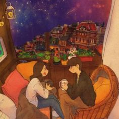 A starry night. We are having a talk while drinking some coffee. See a full illustration Love Is Sweet, Cute Love, Couple Illustration, Illustration Art, Anime Couples, Cute Couples, Puuung Love Is, Cute Happy Quotes, Couple Drawings