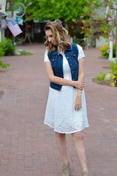 Lace Dress paired with denim vest for a summer outfit // Hey There, Chelsie