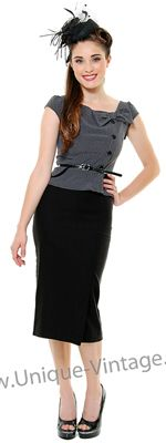 Stop Staring 1930s/ 40's Style Grey And Black Dress   http://www.vintagedancer.com/1930s/1930s-fashion/