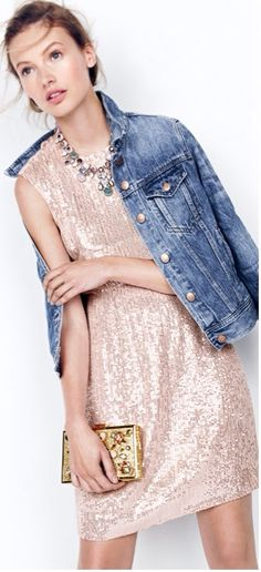 fc5fb150 Rose Gold sequin Dress with Denim Jacket Rose Gold Sequin Dress, Sequin  Party Dress,