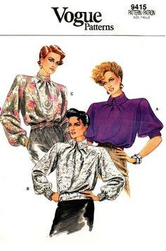 Vogue 9415 High Class Demure Blouse 1985