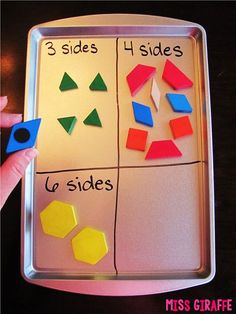 Tons of math teaching ideas like adding magnets to the backs of pattern blocks to create sorts on a magnet cookie sheet. #ParentingIdeas